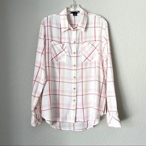 SANCTUARY Red/White/Pink Windowpane Plaid Top (XS)